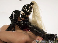 Mistress in latex has her slave cum
